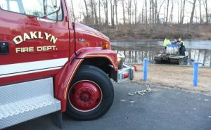 Oaklyn Fire Department tows in a Truxor vehicle during the water rescue of a Haddon Township man from Peters Creek Tuesday morning.